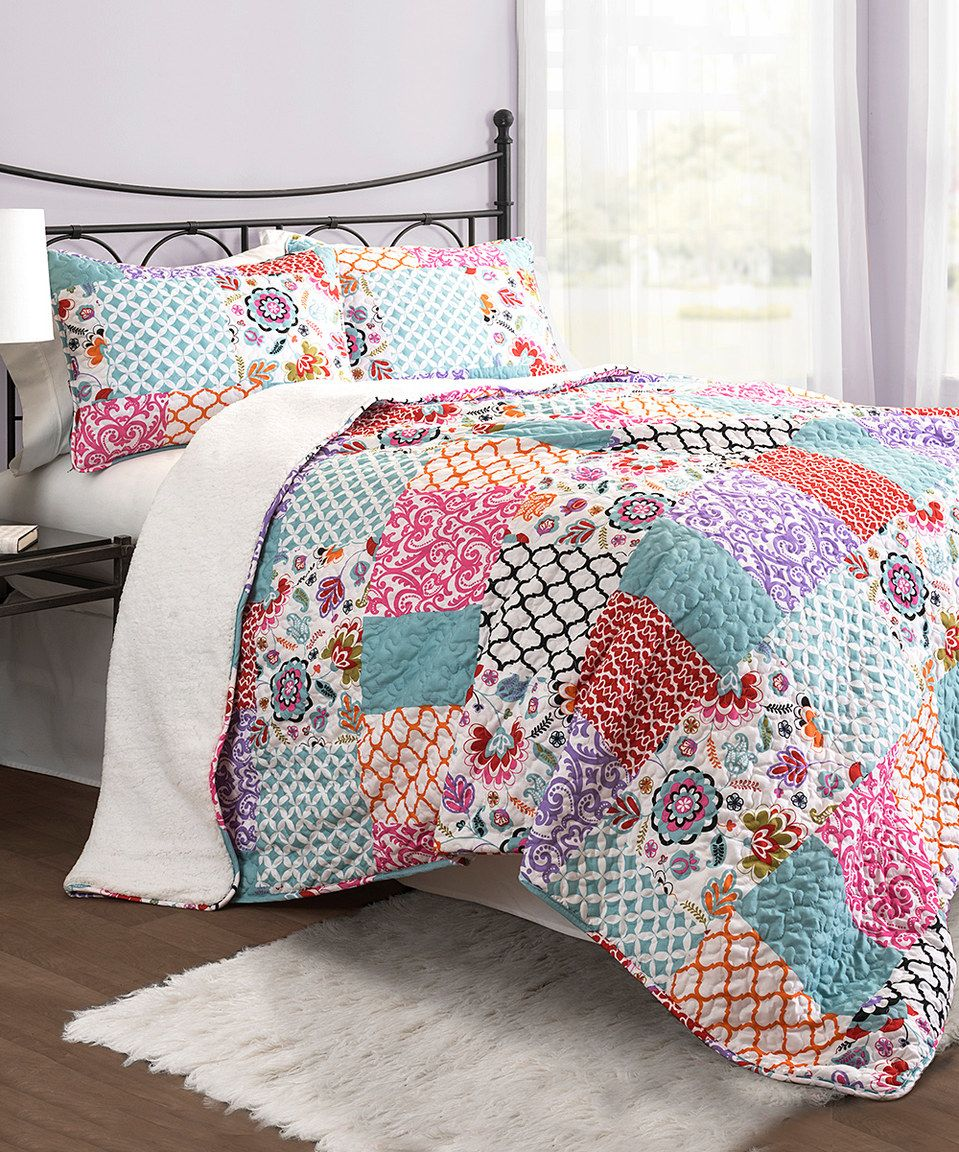 Cozy Homestyles: Purple & Turquoise Brookdale Three-Piece Quilt Set By Lush