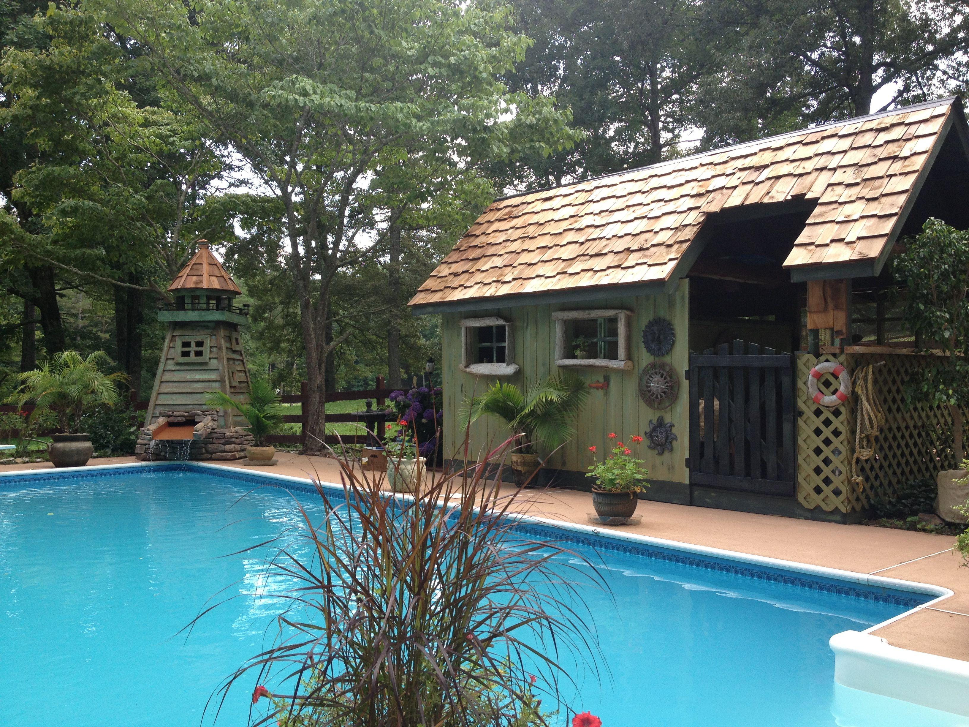 Rustic Pool House Ideas: Beautiful Lighthouse & Poolhouse! DIY Wood. Handmade
