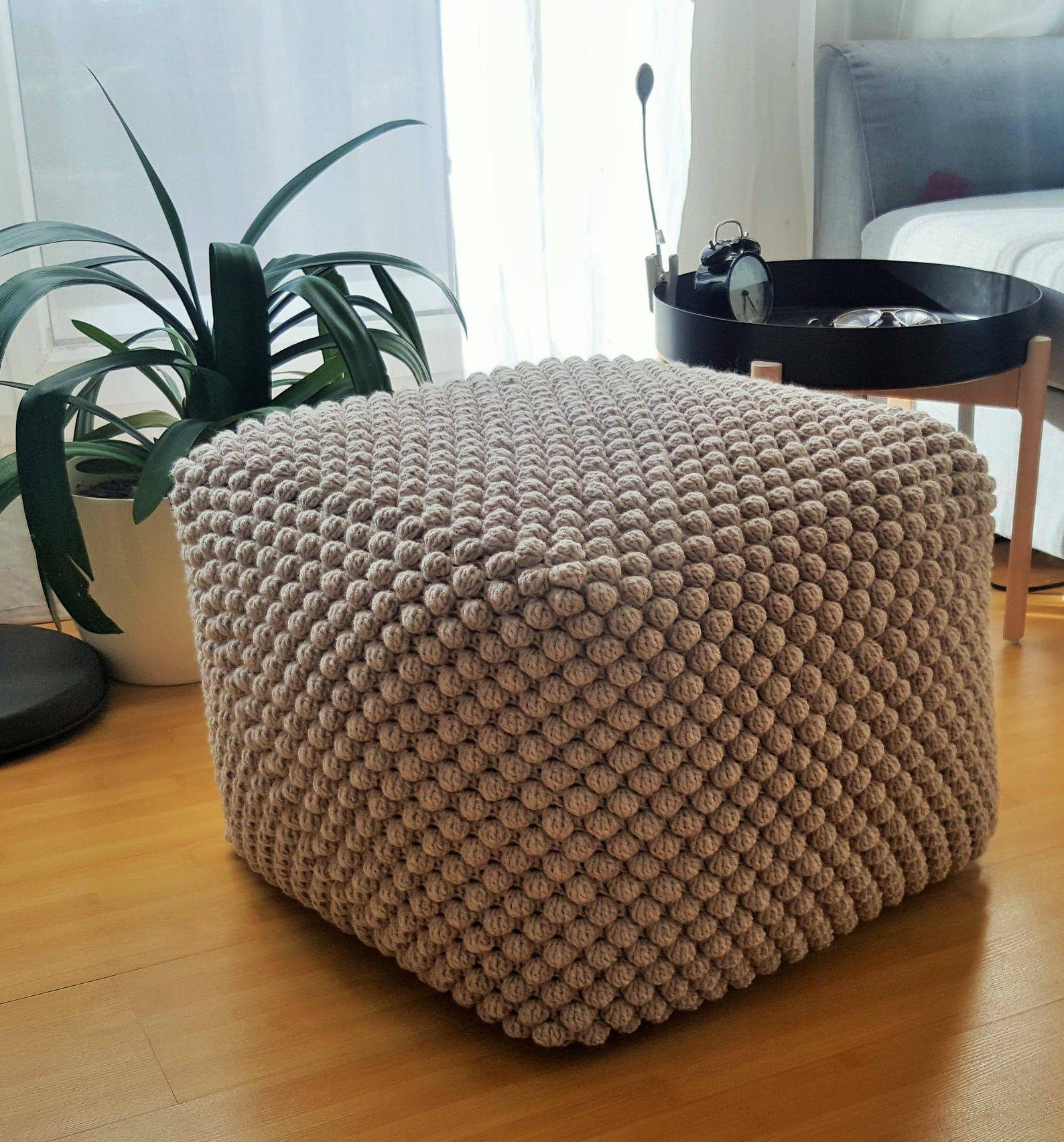 Crochet stuffed light beige poufottoman taupe knit grey