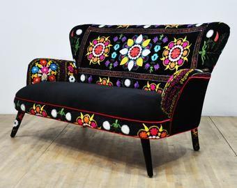 Suzani 2 Seater Sofa Fuchsia Sky Colorful Furniture Funky