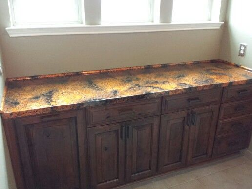 Genial Custom Cabinet From Lowes With Copper Wrapped Counter Top