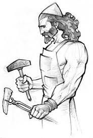 Drawing Of Hephaistos Greek God Of Blacksmeths Fire And