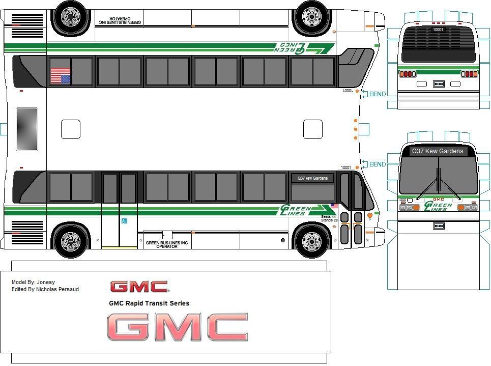 Green Lines Paper Model Bus By Jonesy