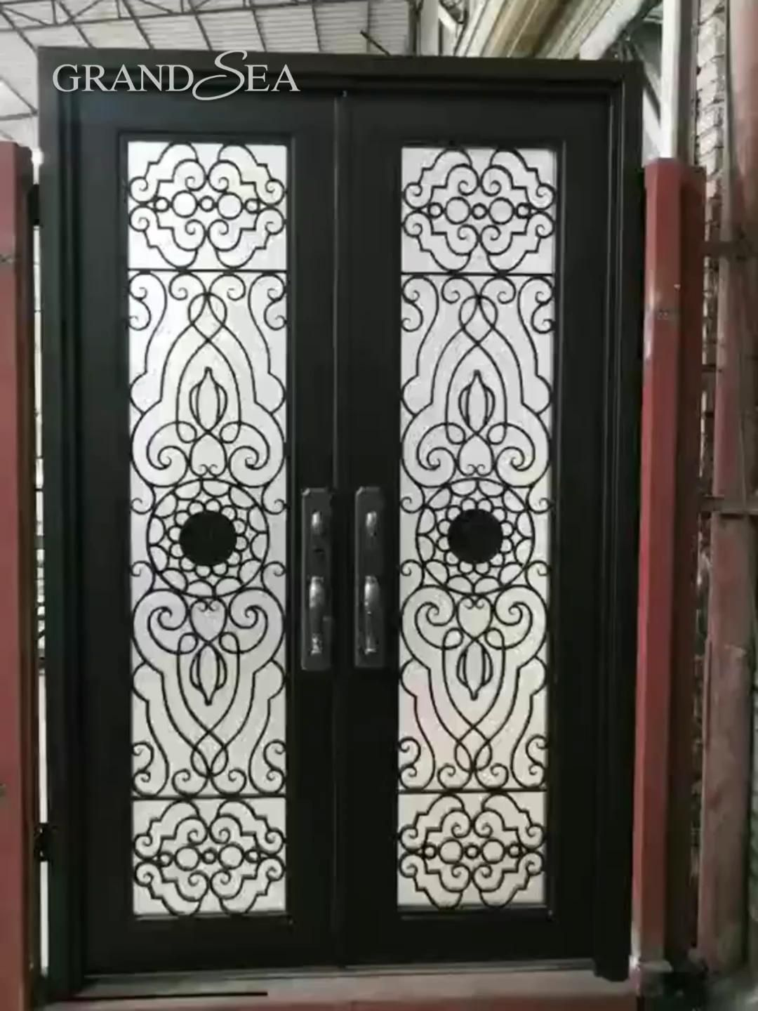 Customized black wrought iron double front door designs for …