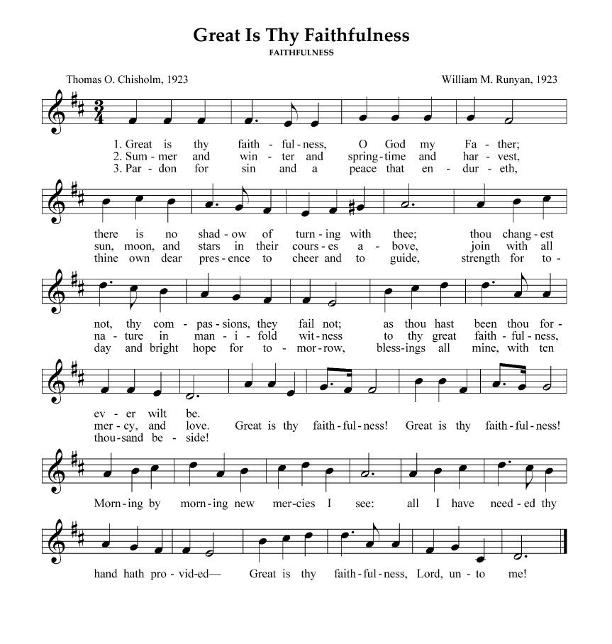 Lyric southern gospel music lyrics : GREAT IS THY FAITHFULNESS *** | Musique - Gospel Lyrics ...
