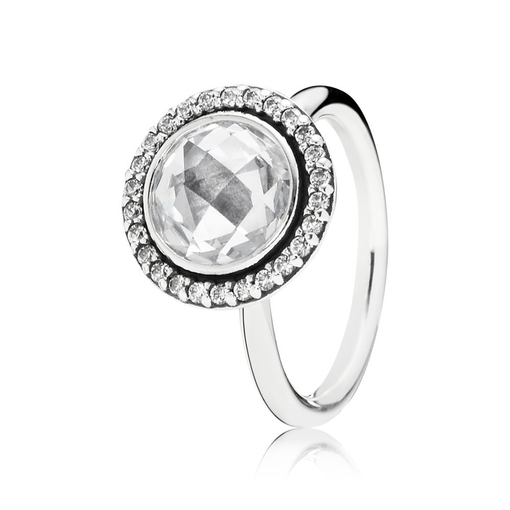 94c8dcc35 #PANDORA ring in sterling silver with round checkerboard cut cubic zirconia  centre stone and 26 cubic zirconia. #PANDORAring #SpringCollection #SS14