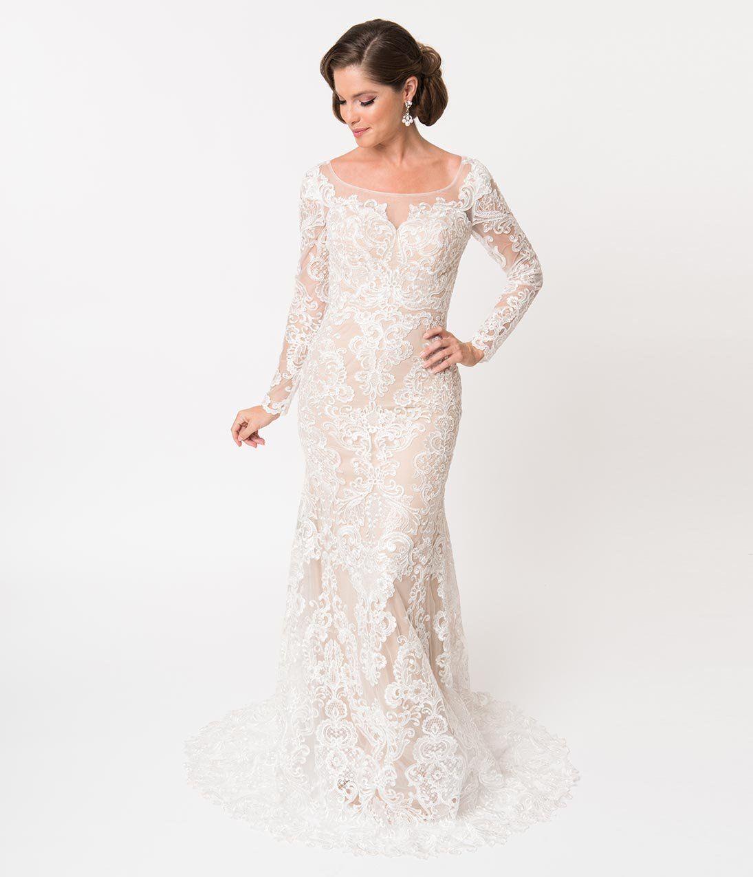 Art Deco Wedding Dress Ivory Lace Long Sleeved Gown 240 00 Unique Prom Dresses Prom Dresses Vintage Vintage Inspired Wedding Dresses [ 1275 x 1095 Pixel ]