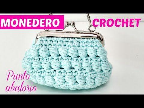 Monedero con broche en punto frijol tejido en circular a crochet