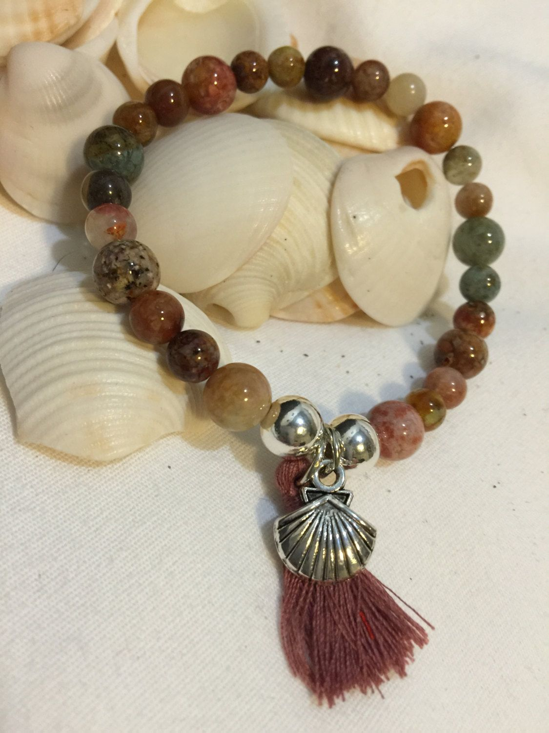 Ocean Agate Beaded Boho Beach Bracelet (8mm & 6mm) with Sterling Silver Beads, Tassel and Silver Shell Charm by DreamCuff on Etsy