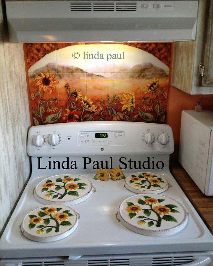 Yellow Kitchen Theme: Sunflower Kitchen Decor Tile Murals