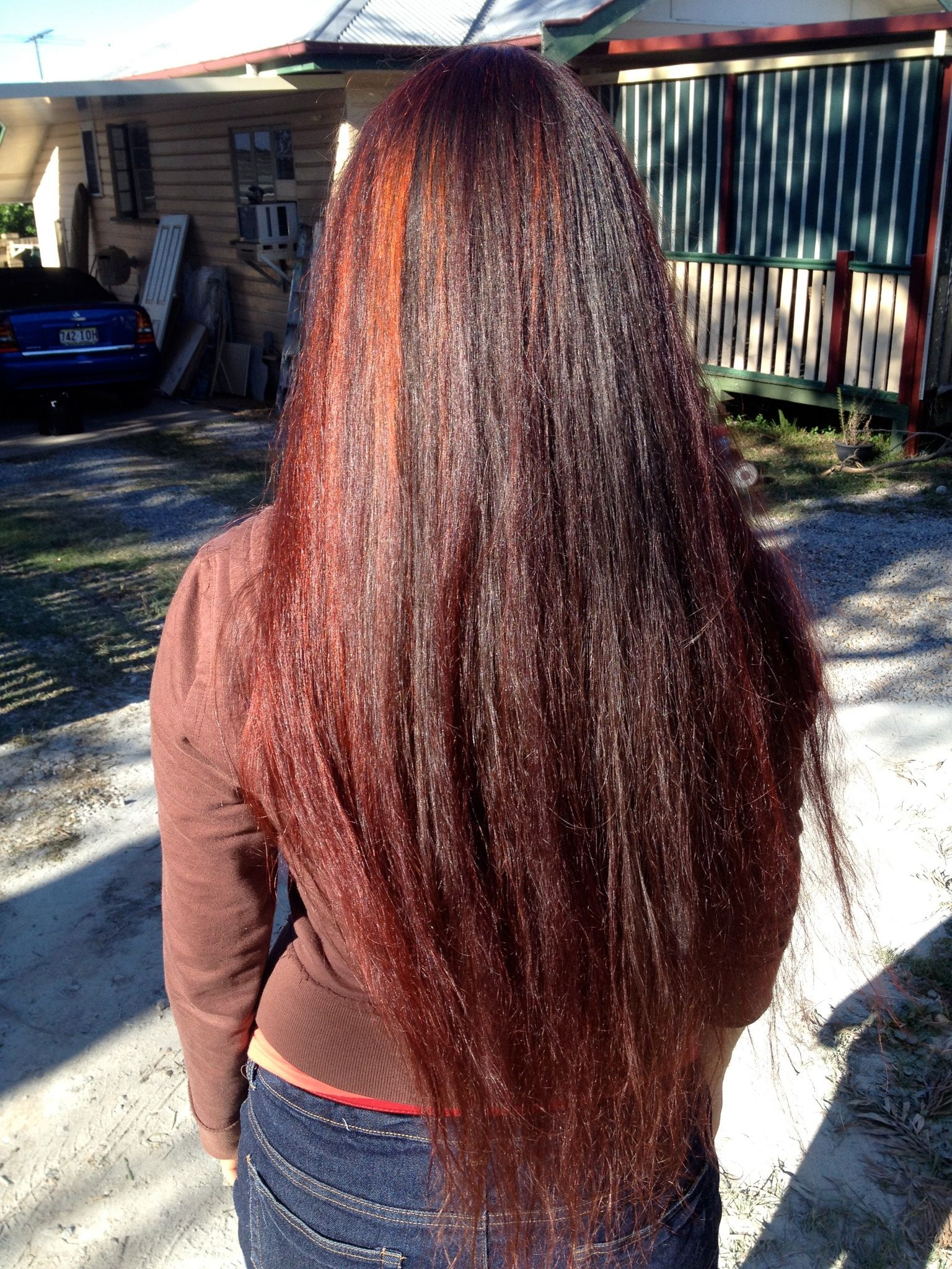 Dark Red Henna On Dark Brown Hair Organic Nazeer Henna