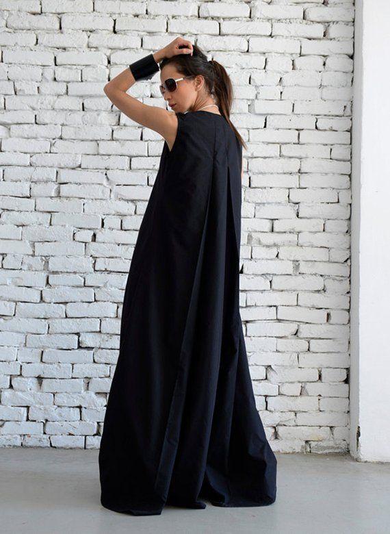 0d88bb795444 SALE Black Maxi Dress Loose Long Dress Plus Size Kaftan Long Black Dress Sleeveless  Black Dress Maxi