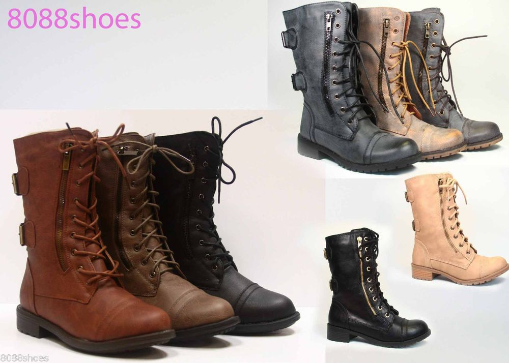 Women's Cute Mid Calf Zipper Low Heel Combat Military Lace Up ...