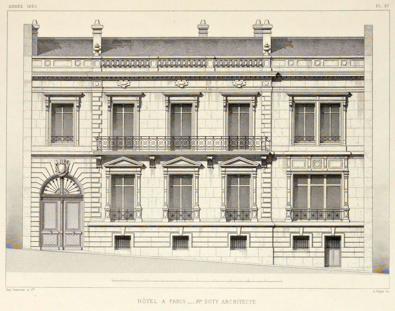 Elevation of a private residence paris architecture for Paris architecture style