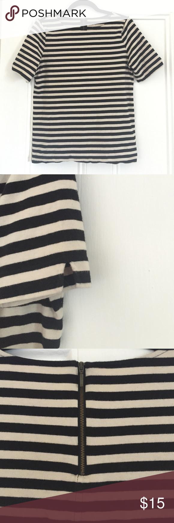 Loft • Striped Zip-Back Tee • size M Loft • Striped Zip-Back Tee • size M LOFT Tops Tees - Short Sleeve