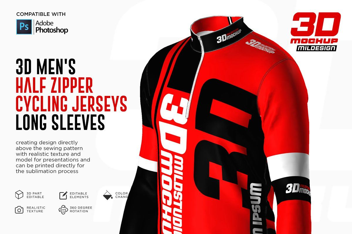 Download 3d Men S Halfzipper Cycling Jersey Sponsored Adobe Photoshop Mockup File In 2020 Photoshop Mockup Cycling Jersey Pattern Design