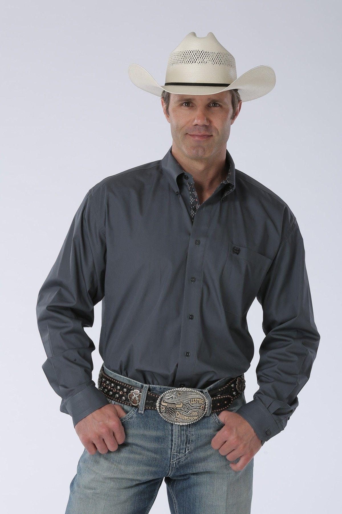 SALE Cinch® Mens L/S Solid Grey Button Shirt Western
