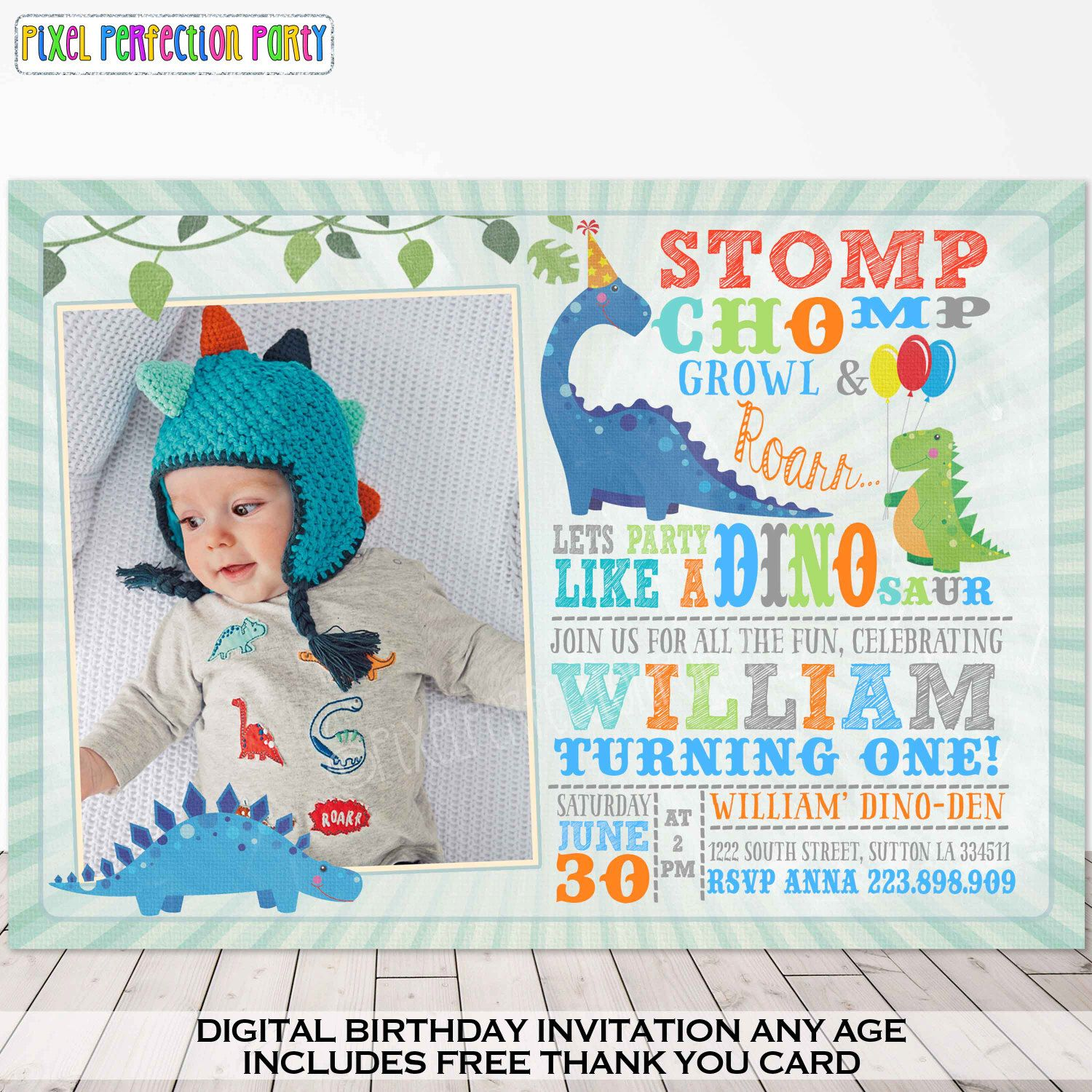 Dinosaur Invitation Birthday Dig