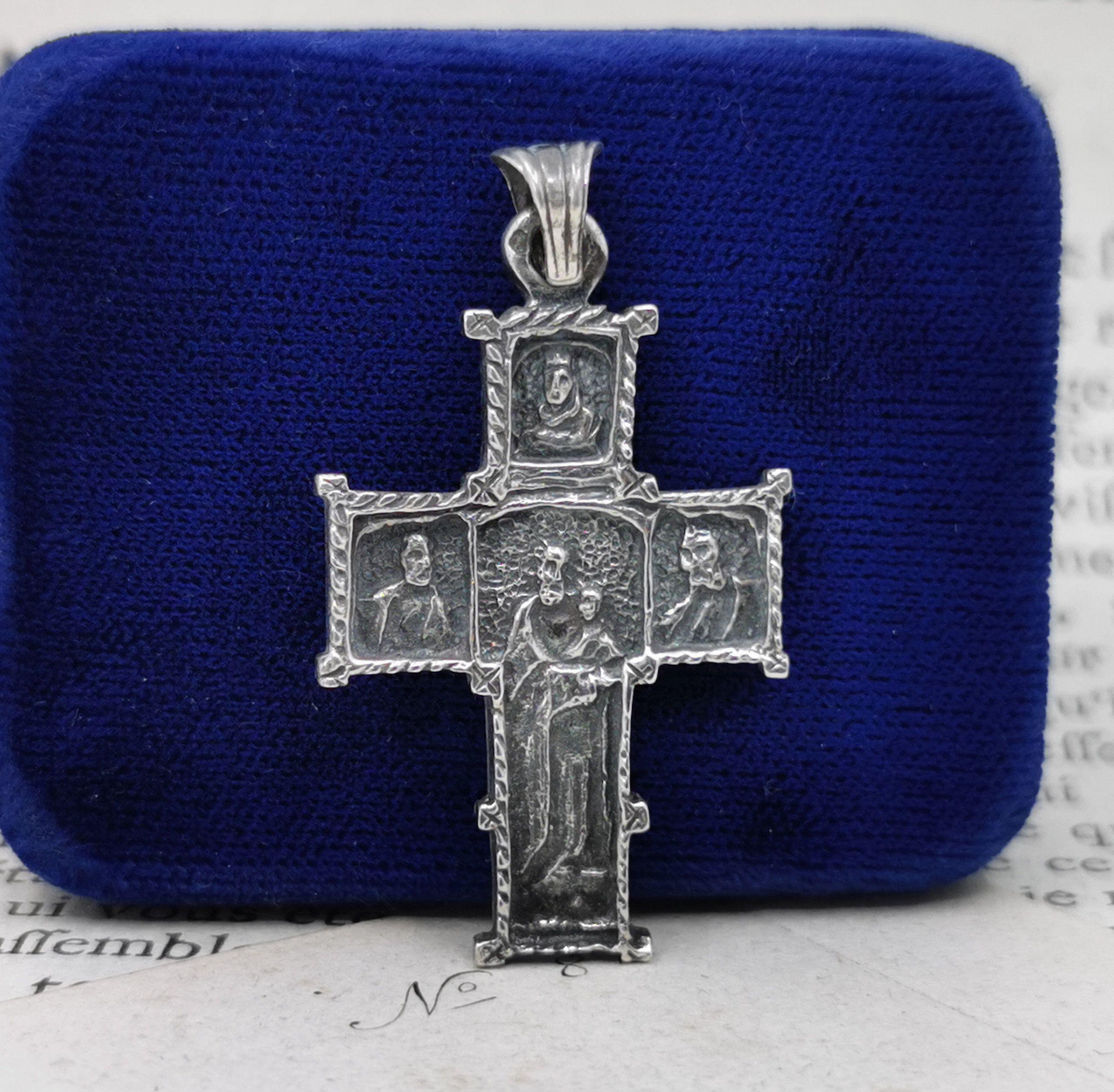 Vintage JHS BLUE ENAMEL MIRACULOUS medal CATHOLIC
