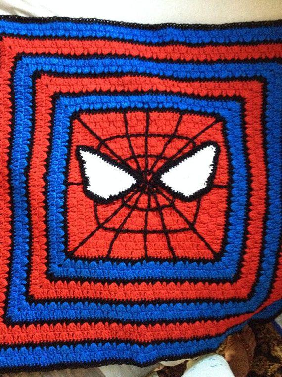 Red blue white black baby blanket, crochet, granny square, custom ...