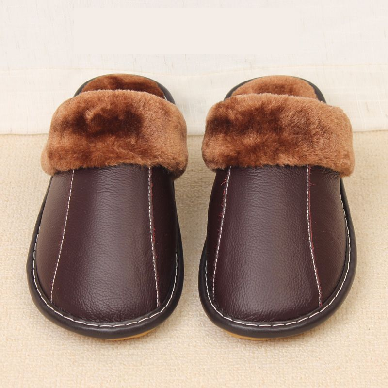 b8b66bc2068 Click to Buy    Plus Size 35-44 Genuine Leather Warm Winter Home ...