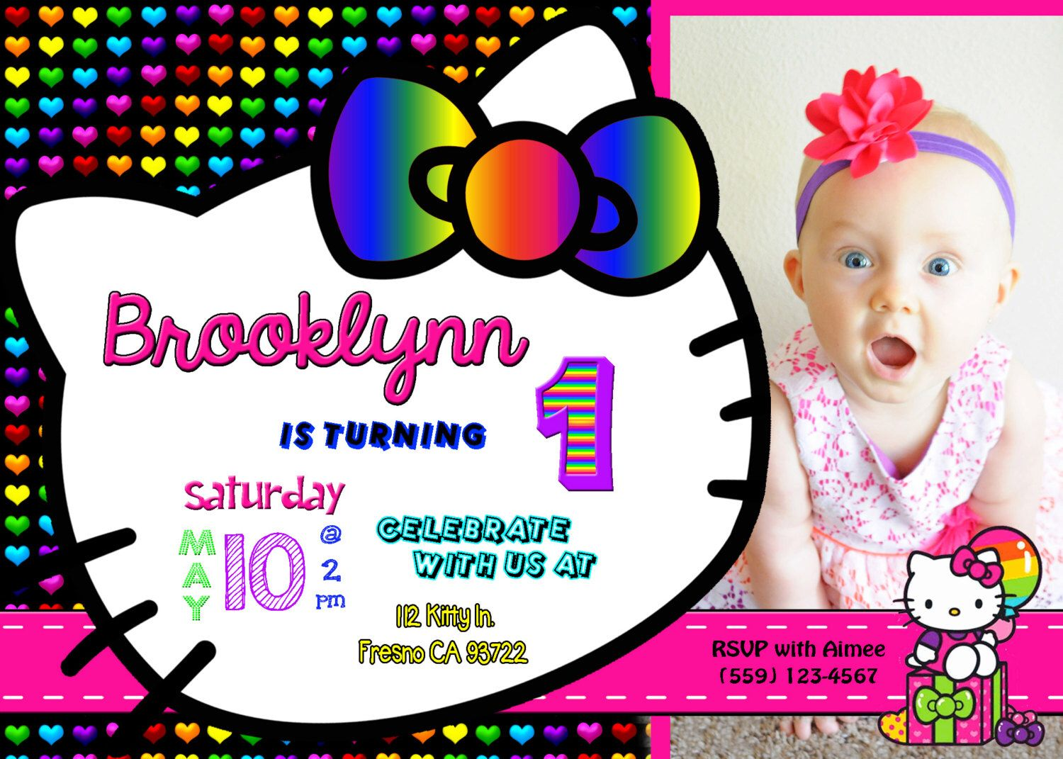 17 best images about invitations by robin dennis hello kitty neon rainbow birthday party invitation invite