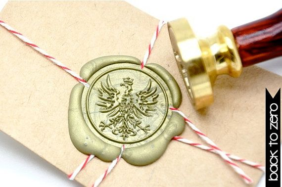 Heraldic Eagle Phoenix with Crown Gold Plated Wax Seal Stamp