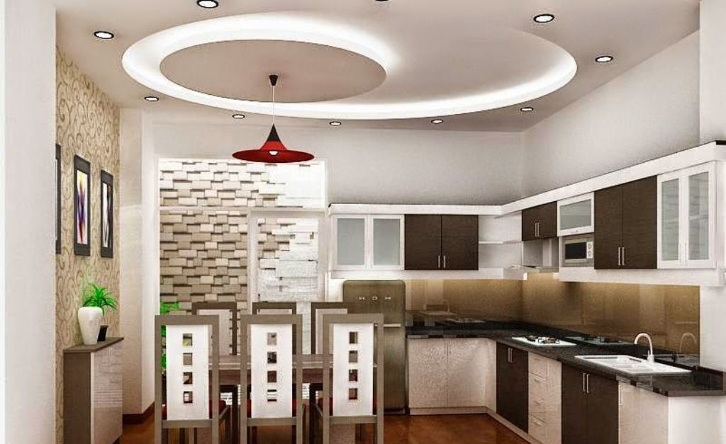 Incroyable False Ceiling Pop Design For Modern Kitchen, Kitchen Ceiling With Lighting