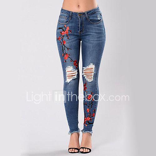 8ff4c28e530 Mujer Sensual Chic de Calle Tiro Alto Microelástico Ajustado Vaqueros  Pantalones