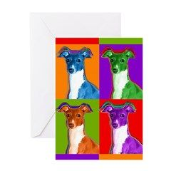 WHIPPET DOGS AND MAN DOG BIRTHDAY GREETINGS NOTE CARD