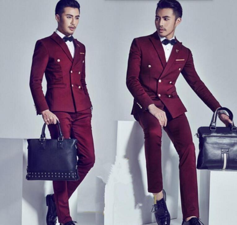 FOLOBE Stock Terno Masculino Slim Fit Burgundy Men Suit costume ...