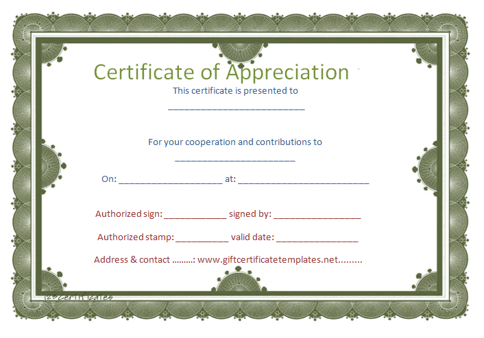 Circle Border Certificate Of Appreciation Template  Certificate