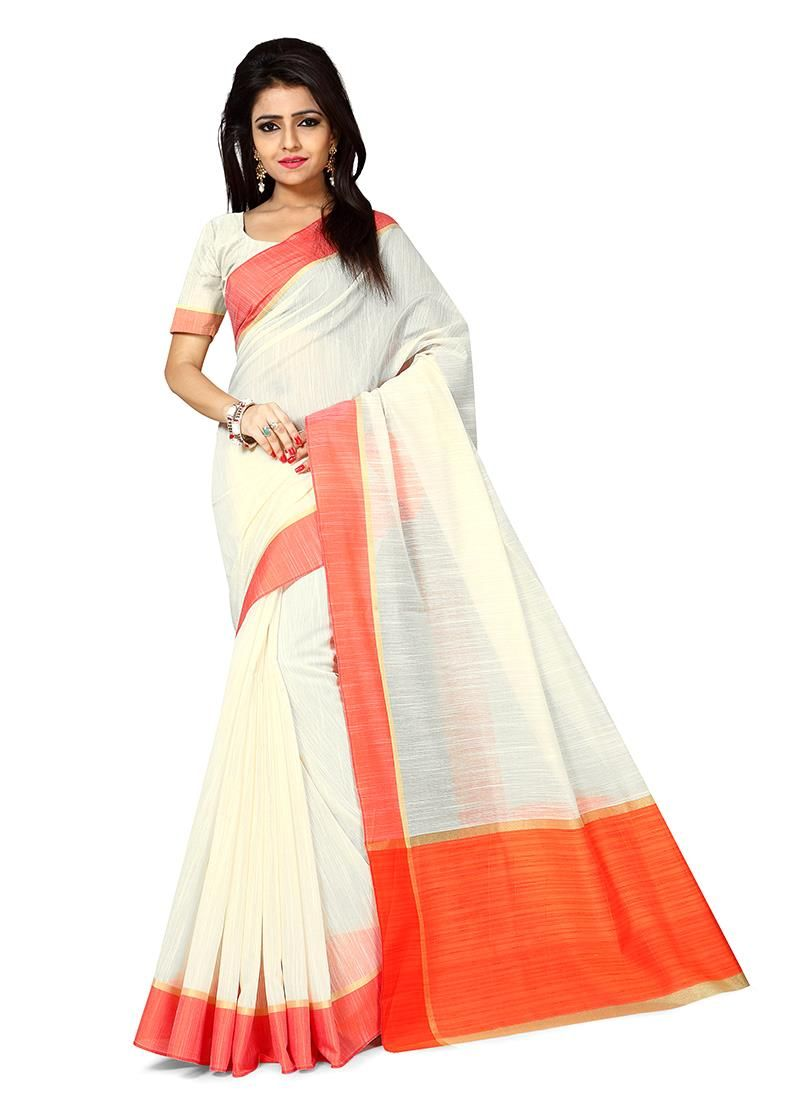 Off white tussar silk saree intrinsic off white casual saree  indian wears  pinterest  indian