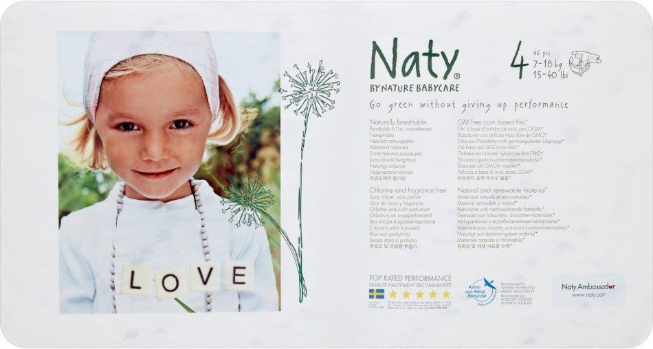 Naty By Nature Babycare Nappies Size 4 Medium 7 18kg 46 Nappies