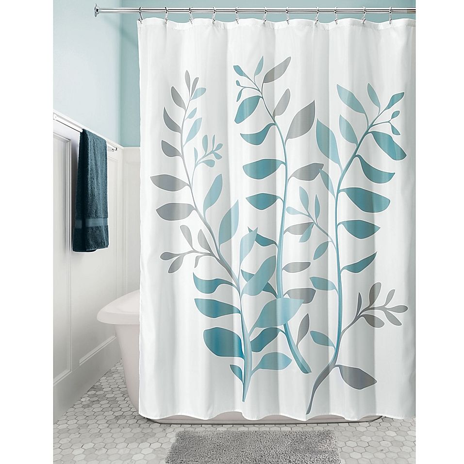 Idesign Laurel 72 Fabric Shower Curtain In Blue Green Grey Blue