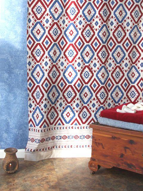 Navajo Rhythms Red White And Blue Southwestern Window Curtain