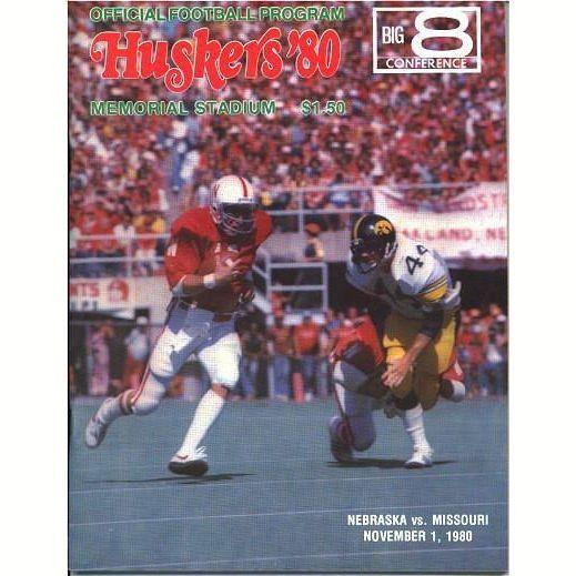 Vintage Nebraska College Football Program Huskers vs. Missouri Tigers November 1 1980