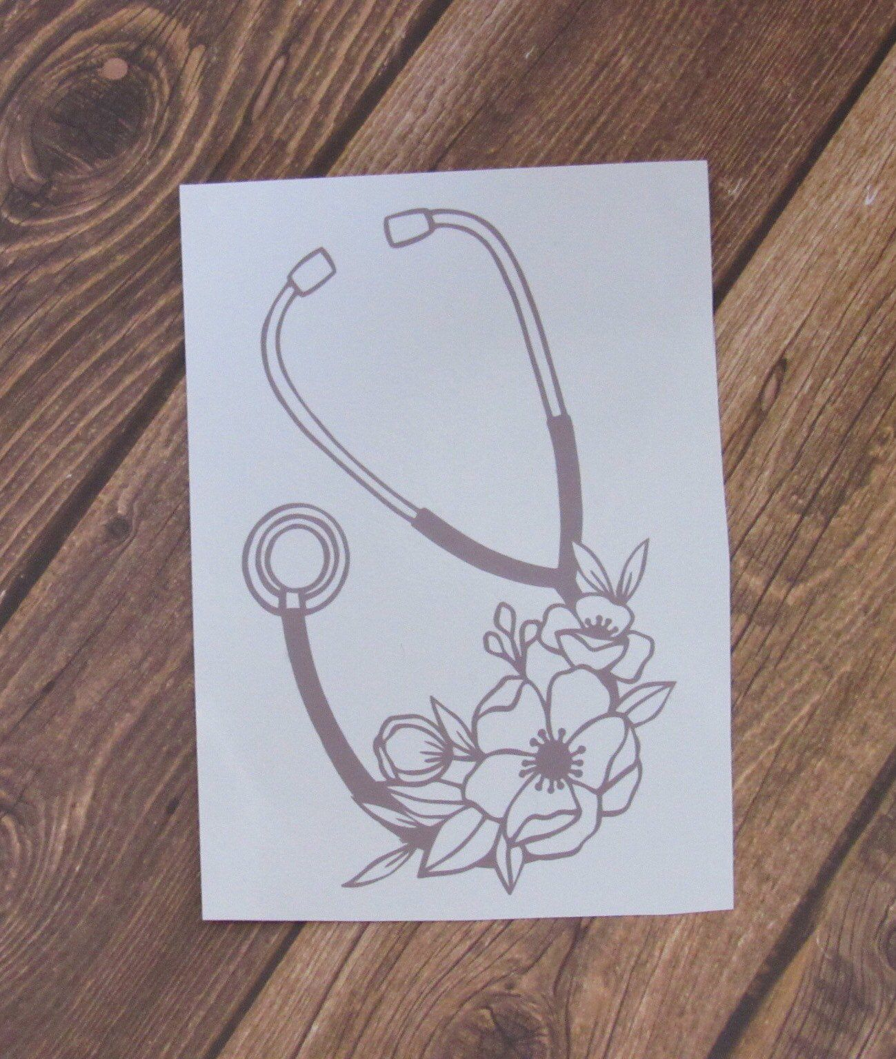 Floral Stethoscope Car Decal Stethoscope Vinyl Decal Floral Etsy Nurse Stickers Vinyl Decals Car Decals Vinyl Decals [ 1536 x 1299 Pixel ]
