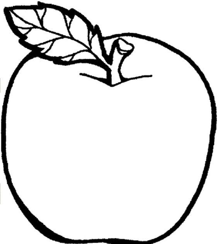 large apple coloring page in 2019 | Fruit coloring pages ...