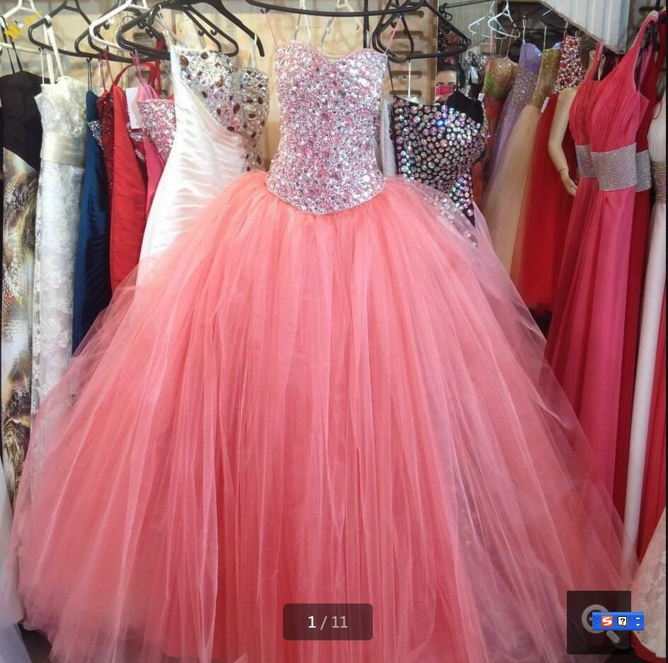 Fashion Pink Tulle With Crystal prom Dresses 2016 Vestido Debutante ...