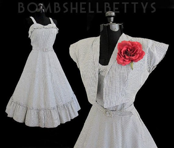 New Vintage Charming Early 50's Gingham Picnic by bombshellbettys, $164.99