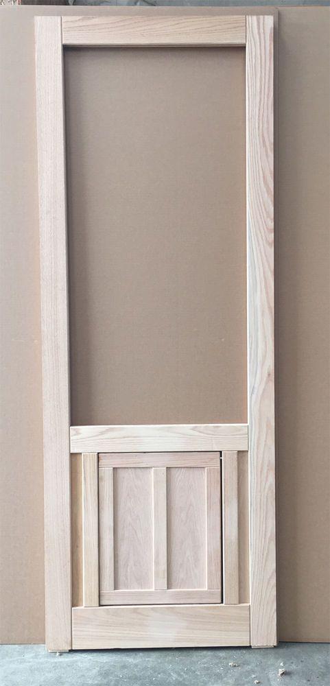 Wood Screen Door With Built In Dog Door Flap In Oak 30 Wide
