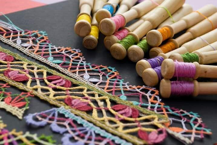 Colorful bobbin lace