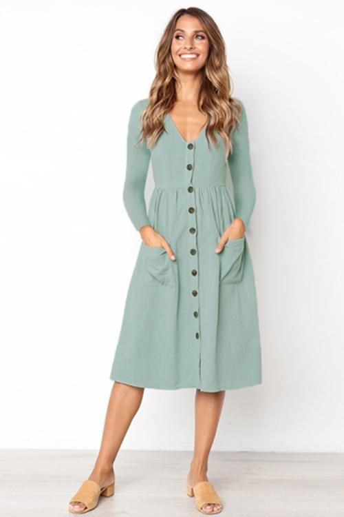 Long Sleeve Button Down Midi Dress Casual Dresses For Women Bohemian Style Clothing Long Sleeve Dresses Fall