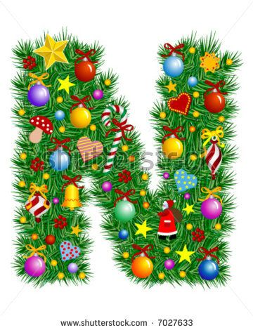Letter N Christmas Decoration Christmas Lettering Christmas Alphabet Christmas Fonts
