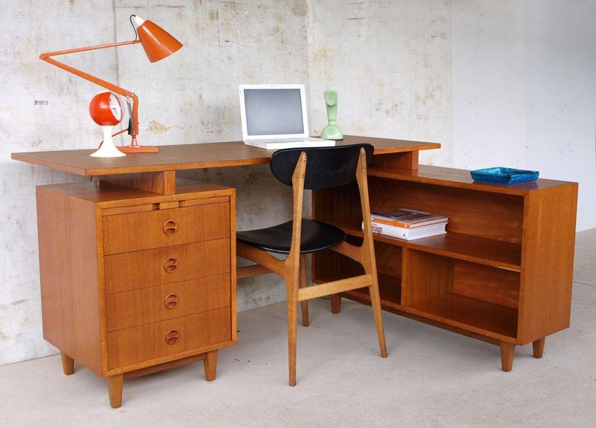 Vintage Retro 60s Danish Parker Teak Corner Desk Shelves Drawers Writing