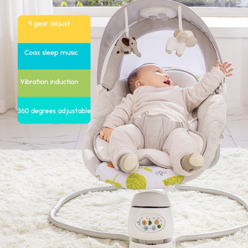 baby sleeping chair accent yellow 360 degree rocking electric cradle adjustable with music mobile power supply