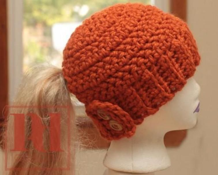 EASY Ponytail Hat with button Closure  8ab4da35959