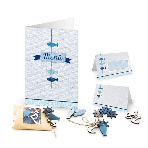 """Set """"3 blaue Fische"""" Menükarten Tischkarten blau türkise"""
