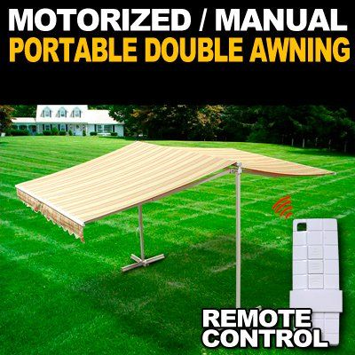 Amazon Com Deluxe Free Standing Portable Motorized Retractable Double Awning With Wireless Remot Pergola On The Roof Pergola Ideas For Patio Deck With Pergola